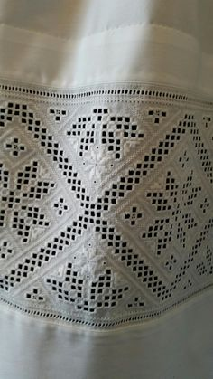 Hardanger Embroidery Made by Inger Johanne Wilde Types Of Embroidery, Embroidery Patterns, Ancient Persia, Hardanger Embroidery, Paper Snowflakes, Brazilian Embroidery, Satin Stitch, White Fabrics, Traditional Outfits