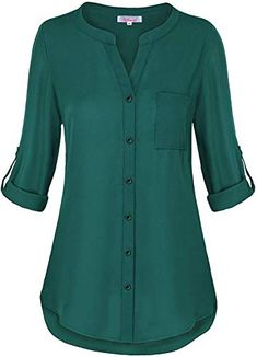 Find Misswor Womens Roll Sleeve Button Down Shirt online. Shop the latest collection of Misswor Womens Roll Sleeve Button Down Shirt from the popular stores - all in one Short Kurti Designs, Kurta Designs Women, Dress Neck Designs, Blouse Designs, Kurta Neck Design, Kurti Designs Party Wear, How To Roll Sleeves, Chiffon Tops, Chiffon Blouses