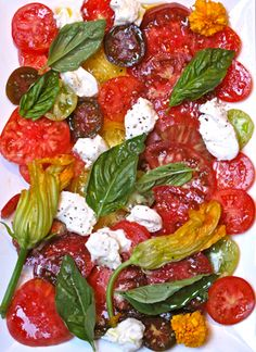 Heirloom tomato salad with buratta cheese.   It looks weird for a salad... but so tasty!