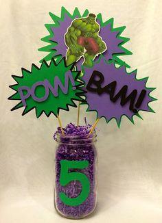 Items similar to Hulk Centerpiece Picks on Etsy - Trend Lego Train 2020 Hulk Birthday Cakes, Hulk Birthday Parties, Superhero Birthday Party, Birthday Party Decorations, 5th Birthday, Hulk Party, Spy Party, Avenger Party, Spiderman Y Hulk