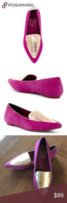 BNWOB Ted Baker size 38.5 Oleshky Pointy Toe Flat ✔️Brand new without box ⭕️️Reasonable offers 🚫Trades/PayPal ✔️Bundle to save  A shimmering metallic leather inset with a signature metal bow defines the vamp of this elegant pointy-toe pump.  - Pointed toe - Leather contrast construction - Topstitched detail - Slip-on - Lightly padded footbed - Leather upper and lining, synthetic sole Ted Baker London Shoes Flats & Loafers
