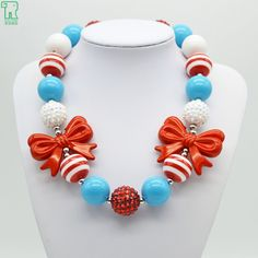 2015 New Children Girl Red Bow Necklace Kids Chunky Bubblegum Choker Colares Princess Beads Jewelry Toddler Red Bow Necklace #Affiliate