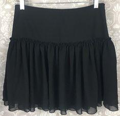 "Banana Republic Womens Skirt 4 Black Ruffled Tiered Side Zip 17"" Long B22a-339 #BananaRepublic #FlareSkirt #Career"