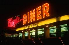 neon lighting on the Olympia Diner, Connecticut