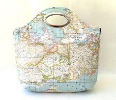 World Map Handbag Tote Purse World Map Printed por renklitasarimlar
