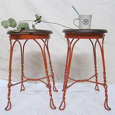 Orange Wire-Base Cafe Stools