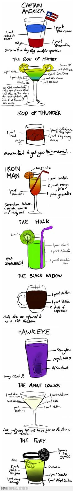 Super Hero Inspired Drinks