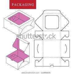 Immagine vettoriale stock 1128060836 a tema Packaging Fast Food (royalty free) Diy Gift Box, Diy Box, Cake Boxes Packaging, Diy Paper, Paper Crafts, Paper Box Template, Cardboard Box Crafts, Diy Arts And Crafts, Diy Birthday