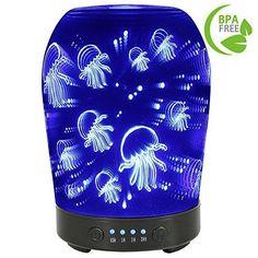 Essential Oil Diffuser 7 LED Lights 100ML Glass 3D 4 Time Cool Mist Humidifier #EssentialOilDiffuser