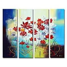 Hand-painted Floral Oil Painting with Stretched Frame - Set of 4 - See more at: http://homelava.com/en-hand-painted-floral-oil-painting-with-stretched-frame-set-of-4-p11316.htm#sthash.jcooAIlS.dpuf