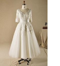 Tea length Wedding Dress 3/4 sleeve Lace Bridal gown A-Line wedding dress, short wedding dress