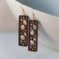 Layered Wood Circles Statement Earrings