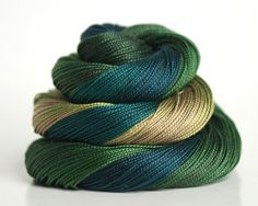 Hand Dyed Pearl Cotton Pearl 12 by BathtubStudios on Etsy, $10.75, teal, forest green, khaki