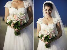 Wedding dress. Bouquet.