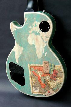 world map guitar