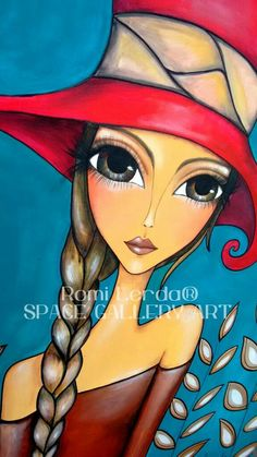 LADY IN HAT Art Journal Inspiration, Painting Inspiration, Arte Popular, Eye Art, Woman Painting, Whimsical Art, Beautiful Paintings, Mixed Media Art, Female Art