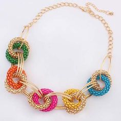 Wholesale Stylish Round Openwork Colored Pendant Necklace For Women (COLORFUL), Necklaces - Rosewholesale.com