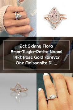 Rosados Box Skinny Flora 8mmTwyla & Petite Naomi 14kt Rose Wedding Rings Teardrop, Forever One Moissanite, Skinny, Class Ring, Flora, Rose Gold, Box, Jewelry, Fashion