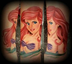 A portrait of the world's most famous mermaid thanks to Disney. #InkedMagazine #TheLittleMermaid #Ariel #tattoo #tattoos #inked #Portrait #mermaid