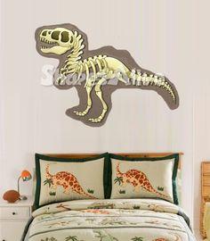 Skeleton Dinosaur Wall Decal for Boys Room. Vinyl Children's Room Art. $75.00, via Etsy.