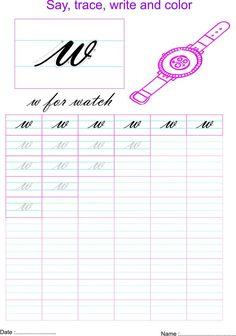 Cursive Letters Worksheet, Cursive Small Letters, Letter W Worksheets, Handwriting Worksheets For Kids, Cursive Handwriting Practice, Writing Practice Worksheets, Cursive Alphabet, Handwriting Analysis, English Worksheets For Kids