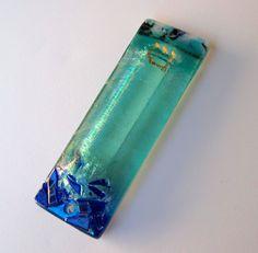 Custom Fused glass mezuzah with wedding glass by StaceyAlysa, $85.00