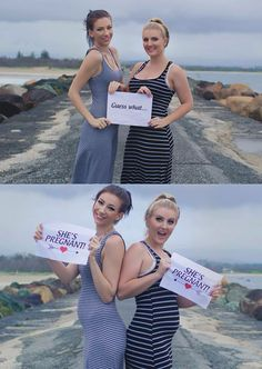 Double pregnancy announcement! Best friends and sister in-laws expecting their babies together! So sweet Photo by Skmassey Photography  Www.facebook.com/skmassey.photography
