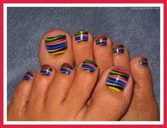 Black polish base with bright stripes nail art design for toes by ksrose