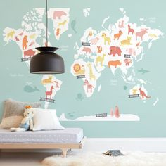 """""""Animal World Map"""" - Kids Non-custom Wall Murals by Jessie Steury in beautiful frame options and a variety of sizes. Childrens Wall Murals, Nursery Wall Murals, Kids Wall Murals, Custom Wall Murals, Removable Wall Murals, Mural Wall Art, Modern Nursery Decor, Nursery Ideas, Mint Walls"""