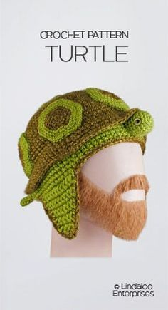 """Amigurumi Crocheted Turtle Hat, pattern from the book """"Amigurumi Animal Hats Growing Up"""" by Linda Wright."""