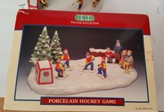 1994 Lemax Village Collection Porcelain Hockey Game Winter Box