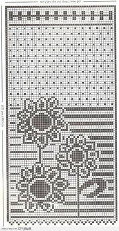 Kira scheme crochet: Scheme crochet no. Filet Crochet Charts, Crochet Diagram, Crochet Motif, Crochet Doilies, Crochet Borders, Crochet Squares, Crochet Curtain Pattern, Crochet Curtains, Tapestry Crochet