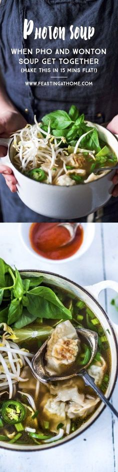 """""""Lightening Speed"""" Photon Soup- a cross between Pho and Wonton Soup that can be made in 15 mins flat! Healthy and tasty! 