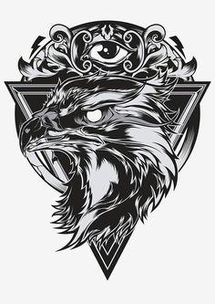 Eagle eye illustration by Shulyak Brothers , via Behance Sketch Tattoo Design, Tattoo Sketches, Tattoo Drawings, Tattoo Designs, Tatto Old, Tatoo Art, Tribal Tattoos, Hand Tattoos, Sleeve Tattoos