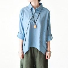 Light blue cotton shirt linen blouse women asymmetrical buttons top