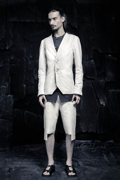 SS16 CRUST OF MOON Silk Shorts, Black Blazers, Ss16, Black Silk, Ivory White, Black White, Leather Sandals, Suit Jacket, Menswear