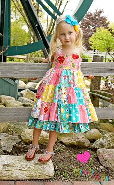 Tiffany's Sweetheart Patchwork Twirl Dress  PDF Pattern-Create Kids Couture, CKC, dress, twirly, patchwork, double layer, boutique, pattern, pdf, sewing, sweetheart bodice, girls, toddlers, baby, reverse, knot, infant, 6 months, 12 months, 24 months 2T, 3T, 4T, 5T, 6, 7, 8, spring, summer, fall