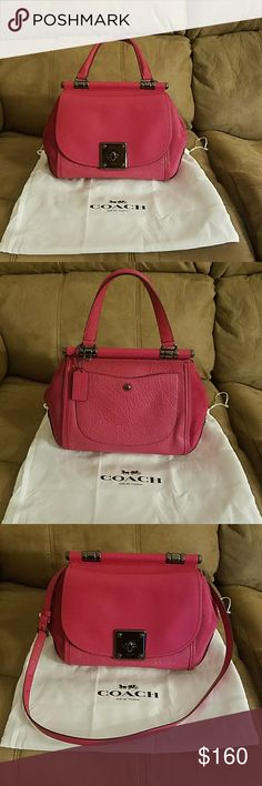 Coach handbag Beautiful hot pink convertible handle and cross body bag. The bag is in excellent condition with a combo of pebble grain leather and expandable suede on the side of the bag and brass hardware. This is a must have in your closet! Only wore 2 times. Coach Bags Satchels