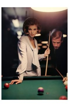 %22Crêpe the in fabric%22, Anne de Zogheb and unidentified male at Julian's Billiard Academy,McCall's, March 1963 Photo William Helburn
