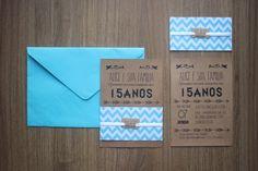 Convite Para Aniversário de 15 Anos. Todos os itens são personalizáveis. Você pode escolher as cores do convite, o formato das tags e até mesmo o envelope e o tipo de papel. Consulte-nos! *o escrito no papel kraft só pode ser na cor preta. Convite em Papel Kraft 200g com luva + Envelope