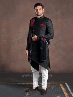 Luxurious black color jute indo western sherwani and white color churidar is perfect attire for wedding, reception and other special occasions. including in black color velvet fabric dupatta. Wedding Reception Attire, Wedding Dress Men, Wedding Men, Wedding Suits, Mens Sherwani, Wedding Sherwani, Mens Ethnic Wear, Sangeet Outfit, Indian Groom Wear