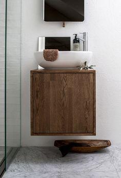 simple bathroom vanity made from walnut— Tiny Bathrooms, Upstairs Bathrooms, Laundry In Bathroom, Bathroom Renos, Simple Bathroom, Beautiful Bathrooms, Bathroom Faucets, Bathroom Storage, Modern Bathroom