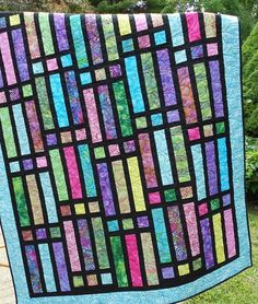 Quilt Pattern - Gateway To Paradise - Jelly Roll or Bali Pop - Quick Easy Lap / Throw Quilt Batik Quilts, Jellyroll Quilts, Scrappy Quilts, Easy Quilts, Bargello Quilts, Jelly Roll Quilt Patterns, Easy Quilt Patterns, Block Patterns, Sewing Patterns