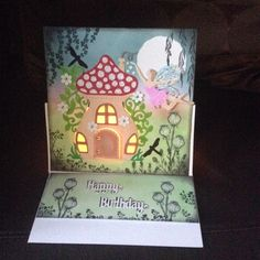 Sweet Dixie toadstool die and Crafter's companion fairy stamps House Cards, Mushroom House, Crafters Companion, Stampin Up, Stuffed Mushrooms, Stamps, Fairy, Paper Crafts, Frame