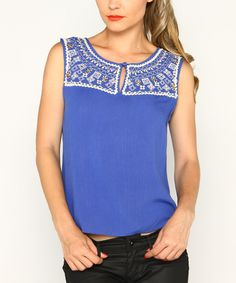 Look what I found on #zulily! Cobalt Blue Embellished Sleeveless Top by Marineblu #zulilyfinds
