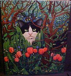 Art: MYSTIC GARDEN CATS par artiste Rosemary Margaret Daunis
