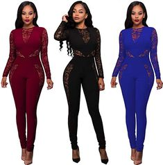 f5664a76ec63 Amazon.com  Women Long Sleeve Club Overalls Lace Bodycon Romper Party  Jumpsuits (Small