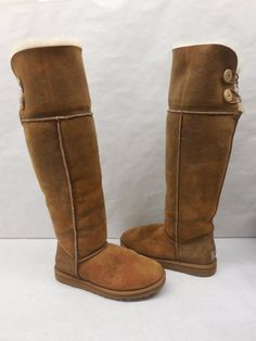 New UGG Womens 3172 Bailey Over The Knee Bomber Chestnut Suede Snow Boots 8 #UGGAustralia #SnowWinterBoots #Casual
