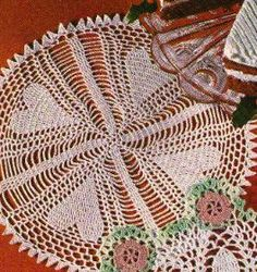 free crochet hearts doily pattern