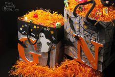 Trick or Treat Bags using Elmer's #GlueNGlitter and Recyclables via @prettyhandygirl.com -- These are awesome!